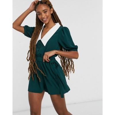 エイソス ASOS DESIGN レディース オールインワン ショート ワンピース・ドレス contrast collar puff sleeve playsuit in green グリーン