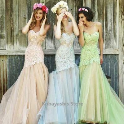 イブニングドレスレースチュールドッキングマーメイドドレスベアトップビスチェドレス撮影結婚式ロングドレスフレアお洒落ピンク
