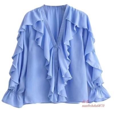 秋 新秋積層装飾フリルシャツ V ネック長袖シフォンレディースブラウスライトブルー服トップス グループ上 レディース衣服 から ブラウス シャツ 中