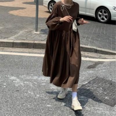 2色 ワンピース ロング丈 長袖 バックボタン ブラック ブラウン シンプル レディース ファッション 韓国 オルチャン