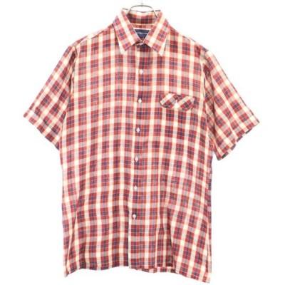 アロー 80s チェック柄 半袖 シャツ M 赤系 ARROW タイワン製 メンズ 古着 200524 メール便可 【Pdown0703】