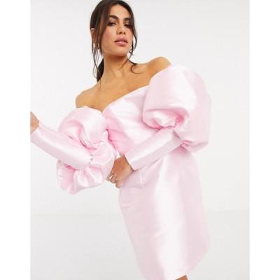エイソス レディース ワンピース トップス ASOS EDITION satin puff sleeve off shoulder mini dress in pink