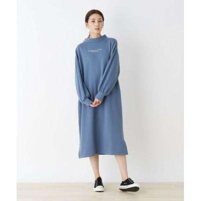 SHOO・LA・RUE/シューラルー 【S-L】裏起毛バックパッチワークワンピース ブルー(092) 03(L)
