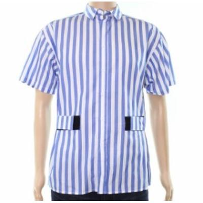 ファッション アウター Laboratory NEW Blue Mens Size Large L Striped Button Down Shirt