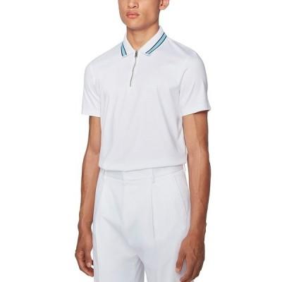 ヒューゴボス ポロシャツ トップス メンズ BOSS Men's Paras 06 Zip-Neck Polo Shirt White