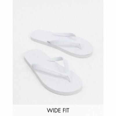 エイソス ASOS DESIGN メンズ ビーチサンダル シューズ・靴 Wide Fit flip flops in white ホワイト