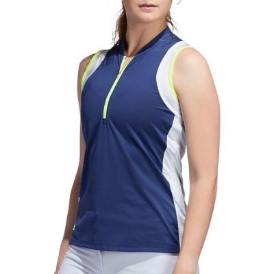 アディダス adidas レディース ゴルフ ノースリーブ ポロシャツ トップス Color Blocked Sleeveless Golf Polo Tech Indigo/Sky Tint
