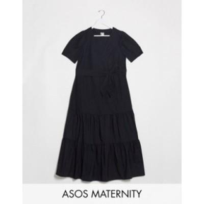 エイソス レディース ワンピース トップス ASOS DESIGN Maternity v neck tiered midi dress with belt in black Black