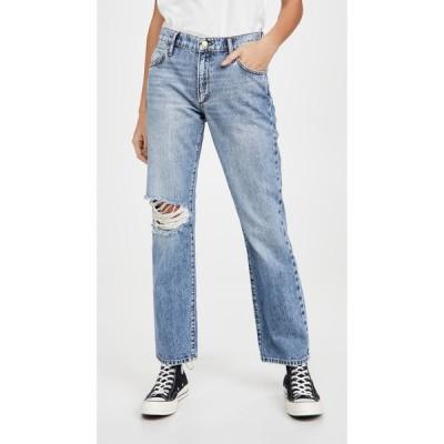 トライアーキー Triarchy レディース ジーンズ・デニム ボトムス・パンツ Mid Rise Straight Leg Jeans Light Indigo Destroyed