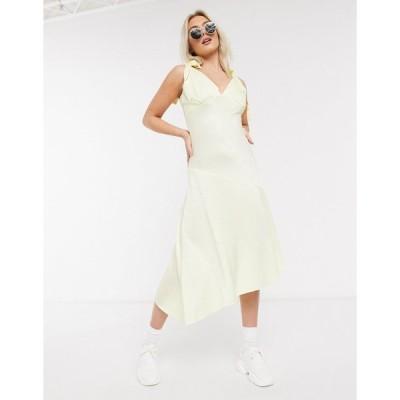 ミスセルフリッジ ミディドレス レディース Miss Selfridge jacquard spot midi dress in lemon エイソス ASOS sale イエロー 黄