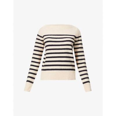 ヴィンス VINCE レディース ニット・セーター トップス Breton-stripe cashmere jumper Almond/coastal