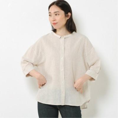 綿麻チビ衿6分袖ワイドシャツ ベージュ M L LL 3L