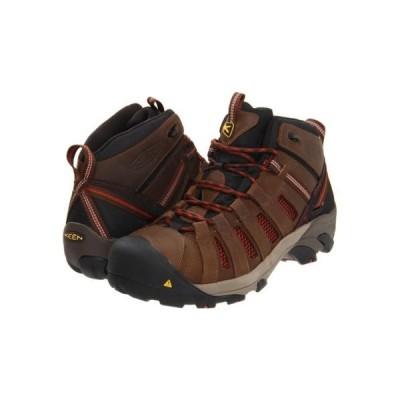 ブーツ キーン Men's KEEN Utility Flint Mid Steel Toe Work Boot BLACK/HENNA 1007972