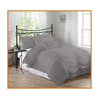 送料無料 Bed Culture Ruched Pattern Duvet Cover Set with Zipper & Corner Ties (1 Duvet Cover & 2 Pillow Shams) 100% Egyptian Cotton 1000