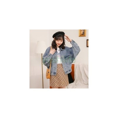 ジャケット レディース デニムコート デニムジャケット ジージャン アウター 無地 ボタン ゆったり 通学着 春秋ファッション