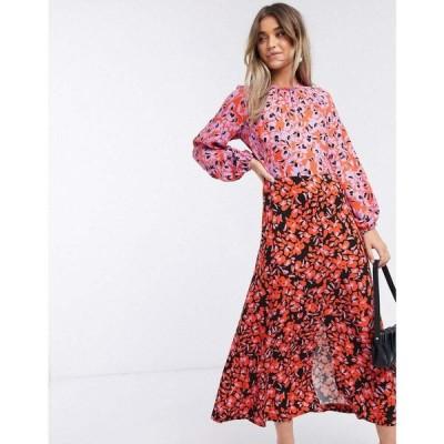 クローゼットロンドン Closet London レディース ワンピース ミドル丈 ワンピース・ドレス long sleeve split midi dress in lilac floral マルチプリント