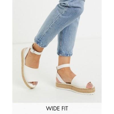 エイソス レディース サンダル シューズ ASOS DESIGN Wide Fit Jupiter flatform espadrille sandals in white
