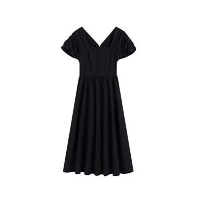 レディース ワンピース ドレス 半袖 スクエアネック Aライン 大人上品 袖あり ミモレ丈 ワンピ ブラック (M)