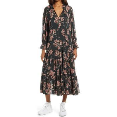 フリーピープル FREE PEOPLE レディース ワンピース ミドル丈 ワンピース・ドレス Feeling Groovy Long Sleeve Midi Dress Forest Combo