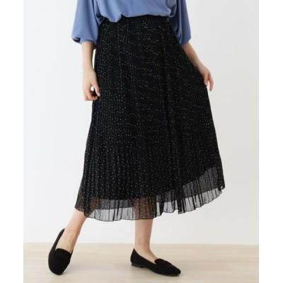 SHOO・LA・RUE/シューラルー 消しプリーツドットロングスカート ブラック(119) 00(FREE)