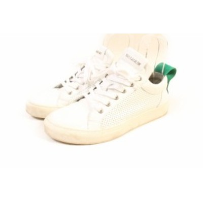 【中古】バルマン BALMAIN 17AW スニーカー メッシュ レザー 40 白 ホワイト btm0527 メンズ