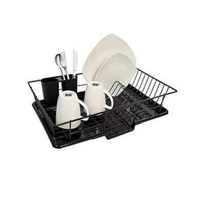 Sweet Home Collection 食器水切りボードと台所用具ホルダー シンプルで使いやすい 12インチ x 19インチ x 5インチ ブラッ並行輸入