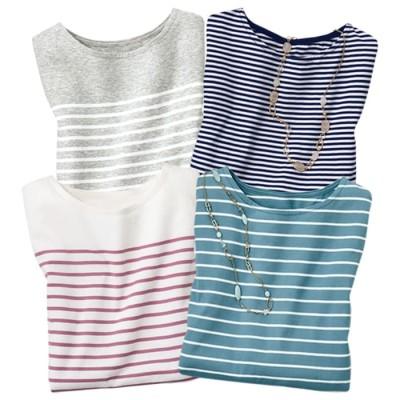 ベルーナ 【4色組】家計に安心!ボーダーTシャツ 1 L レディース