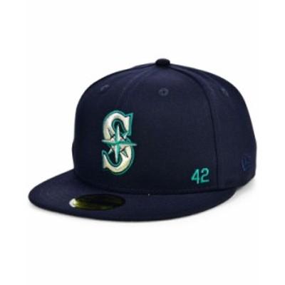 ニューエラ メンズ 帽子 アクセサリー Seattle Mariners Jackie Robinson 50th Patch 59FIFTY-FITTED Cap Navy