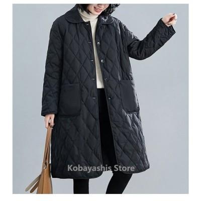 中綿コート コート ロング レディース 軽量 チェスターコート 冬 40代 アウター 中綿 チェスター ロング 暖かい 体型カバー 大きいサイズ 黒