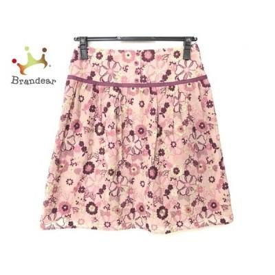 トッカ TOCCA スカート サイズ0 XS レディース 美品 ピンク×ボルドー×ベージュ 花柄/刺繍   スペシャル特価 20200620