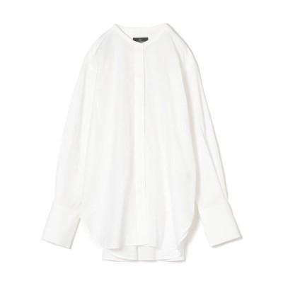 【シップス ウィメン】PrimaryNavyLabel:コットンナイロンノーカラーフロントフライシャツ