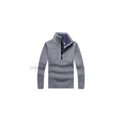セーター メンズ 厚手 プルオーバー ジップアップ ファスナー 大きいサイズ 立ち襟 スタンドカラー
