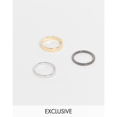 デザインBロンドン DesignB London メンズ 指輪・リング 3点セット ジュエリー・アクセサリー Designb mix metal 3 pack rings in multi マルチカラー