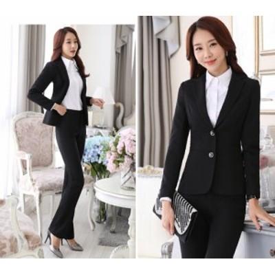 新作2点セット/オフィスパンツ+スーツ/レディース長袖スーツ/就活 ビジネススーツ制服/大きいサイズあり OL通勤/卒業式スーツS~3XL