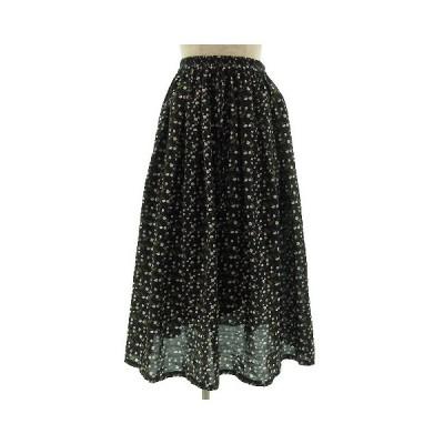【中古】サマンサモスモス SM2 スカート ロング フレアー 花柄 総柄 ブラック 黒 F レディース 【ベクトル 古着】