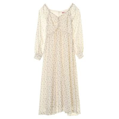 フラワーフロントシャーリングドレス