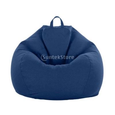 ビーンバッグカバー ぬいぐるみ ストレージバッグ ソフト 全10色 収納袋 多機能 耐久性 - ダークブルー