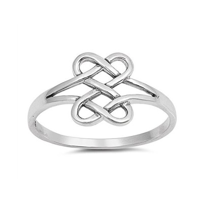 Infinity Celtic Knot Forever Heart Promise Ring Sterling Silver Band S