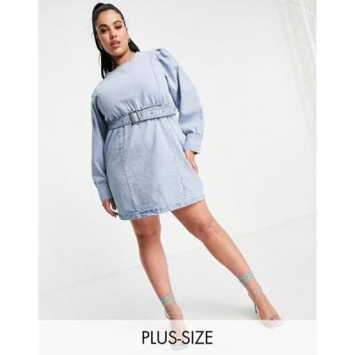 ミスガイデッド ドレス 大きいサイズ レディース Missguided Plus long sleeve denim dress with belt in blue エイソス ASOS ブルー 青