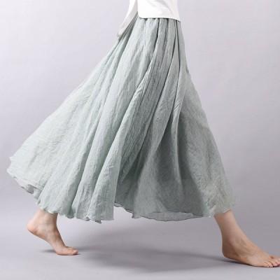 スカート マキシスカート レディース 綿麻スカート ロング丈 2重レイヤード カラーバリエーション 通気 体型カバー ボトムス