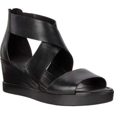 エコー サンダル シューズ レディース Elevate Wedge Ankle Strap Sandal (Women's) Black Full Grain Leather