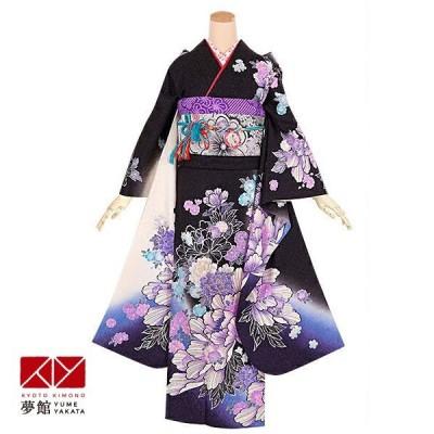 2〜11月利用 結婚式 振袖 レンタル 黒 牡丹に桜(絹)(宅) 一点物 対応身長160〜164cm R1329