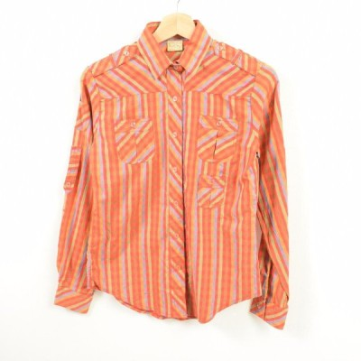 チェック柄 長袖 ポリコットンシャツ レディースS /wat3996