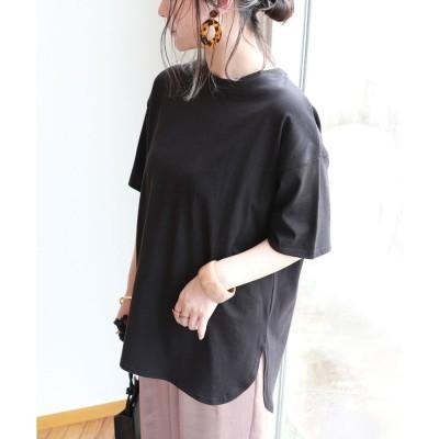 アンドミー and Me USAコットン半袖オーバーサイズ裾ラウンド Tシャツ (ブラック)