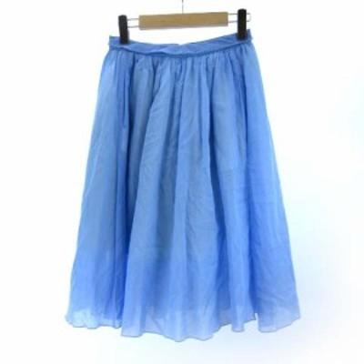 【中古】マカフィー MACPHEE トゥモローランド ギャザースカート フレア チュール ライトブルー 36 M SSS9 レディース