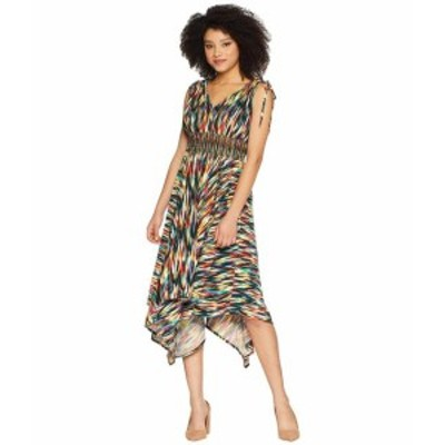 Maggy London マギーロンドン ドレス 一般 Rainbow Ikat Printed Jersey Hi Low Maxi with Ruched Shoulder Detail