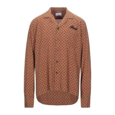 RHUDE 柄入りシャツ ファッション  メンズファッション  トップス  シャツ、カジュアルシャツ  長袖 赤茶色