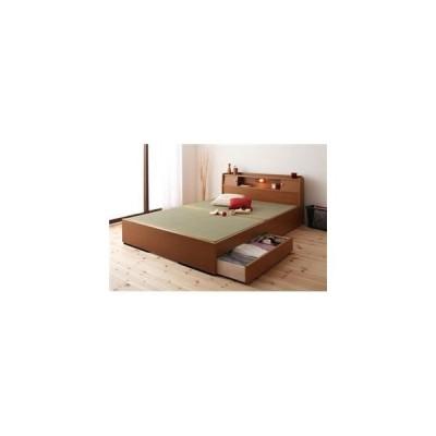 収納ベッド ダブル ライトブラウン 照明・棚付き畳収納ベッド〔月下〕Gekka〔代引不可〕