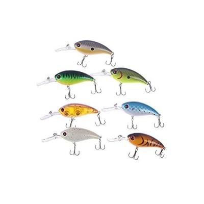 RAYNAG クランクベイト バスフィッシングルアー 7個セット 小型釣りベイト トップウォーター ハードルアー 鋭いトレブルフック トラウトミノー