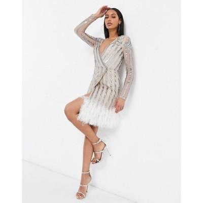 スターレット レディース ワンピース トップス Starlet embellished wrap mini dress with faux feather hem in cream